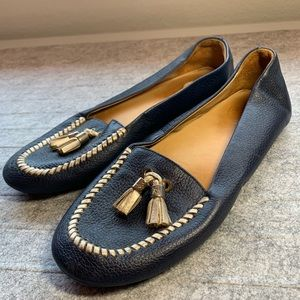 Jack Rogers Navy + Gold Tassel Leather Loafers